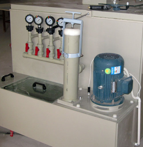 Integrated inline filter with O-ring seal sample ports and easy pump maintenance